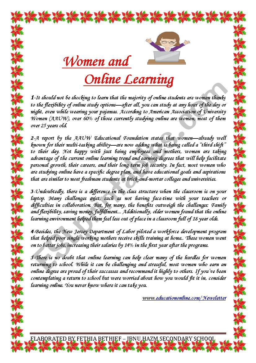 Women and Online Learning worksheet