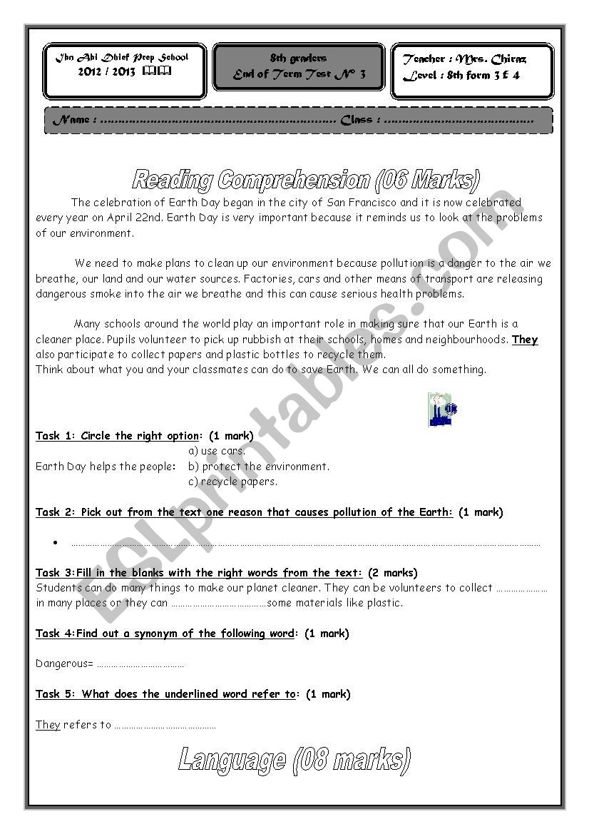 full term test n°3 8th form worksheet