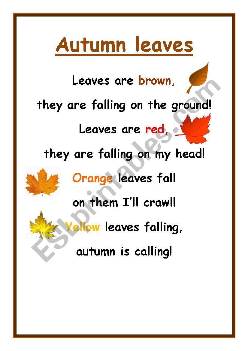 Autumn leaves poem worksheet