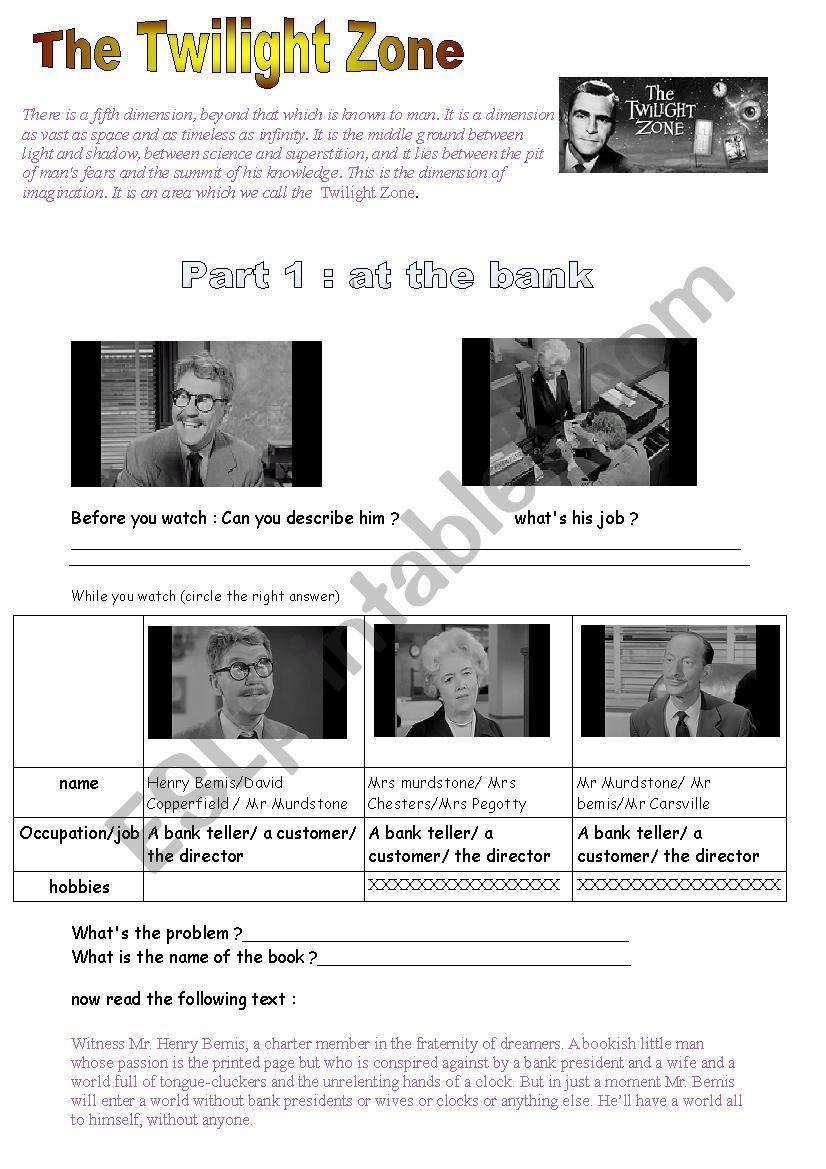 video time TWILIGHT ZONE  worksheet