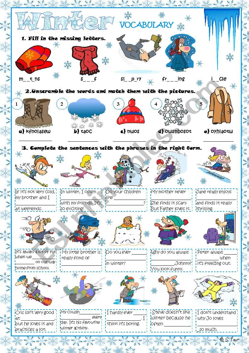 Winter vocabulary exercises worksheet