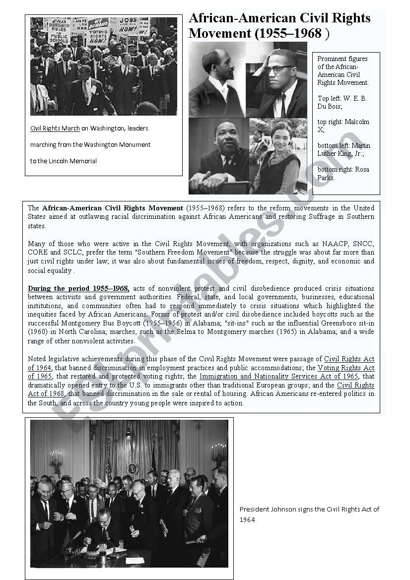 civil rights movement worksheet