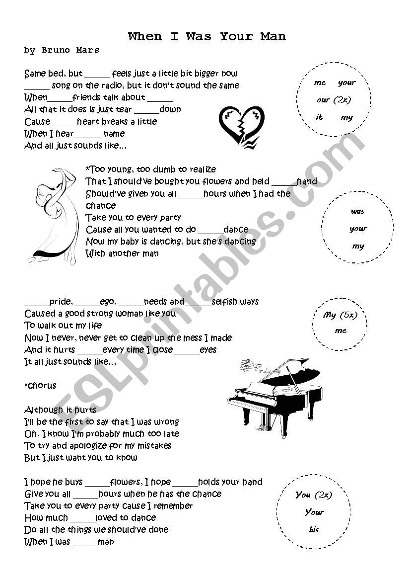 When I was your man worksheet
