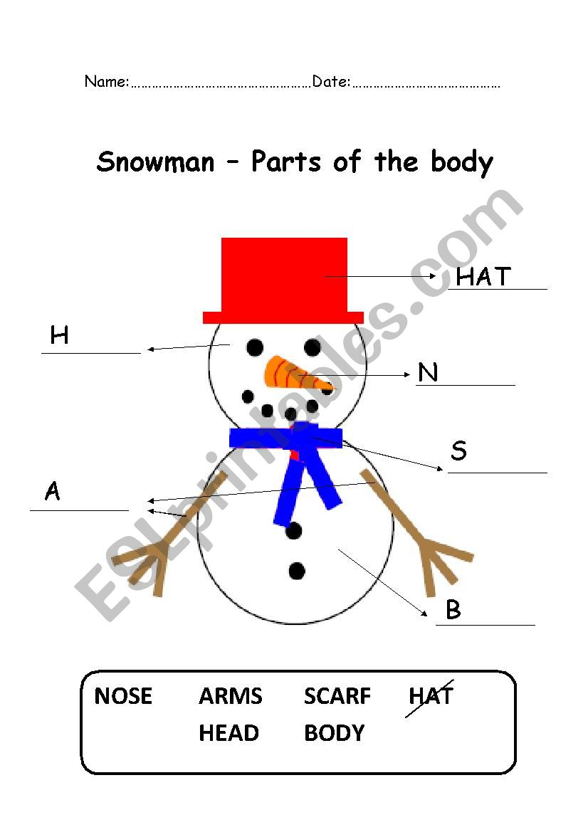 Snowman, parts of the body worksheet