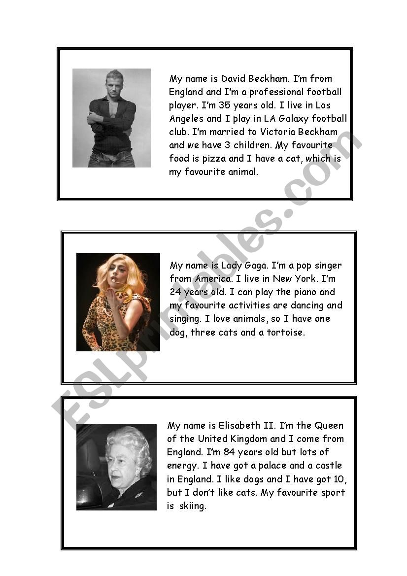 Famous people interview worksheet