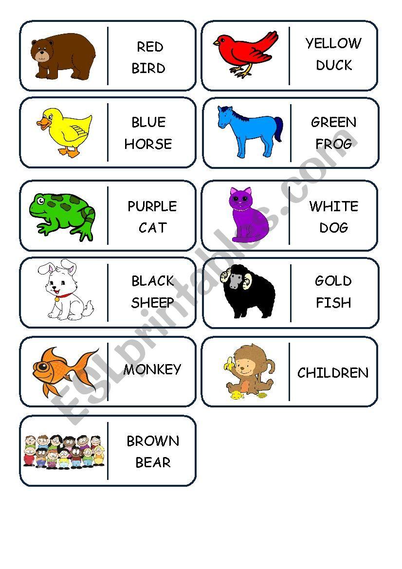 Brown bear domino worksheet