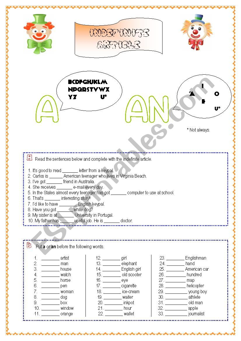 Indefinite Article- a&an worksheet