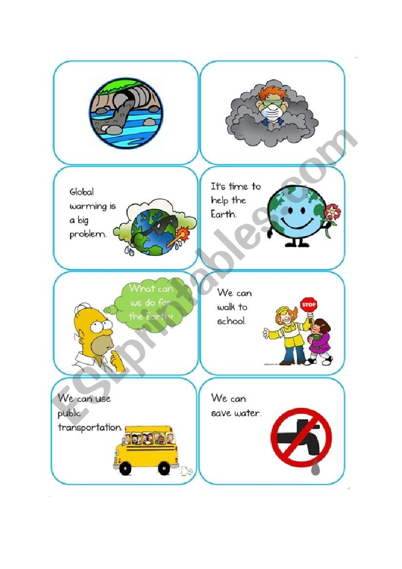 What can we do for the Earth? (as a child) card game