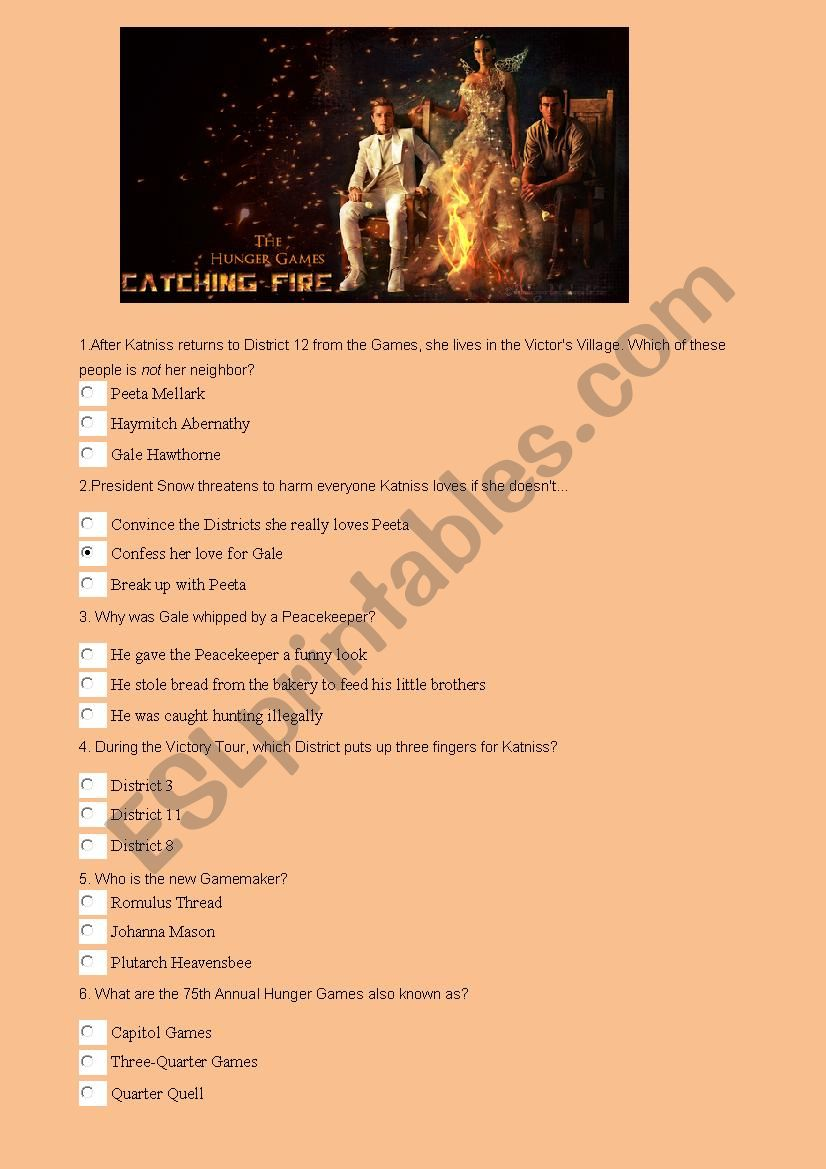 Catching Fire Quiz worksheet