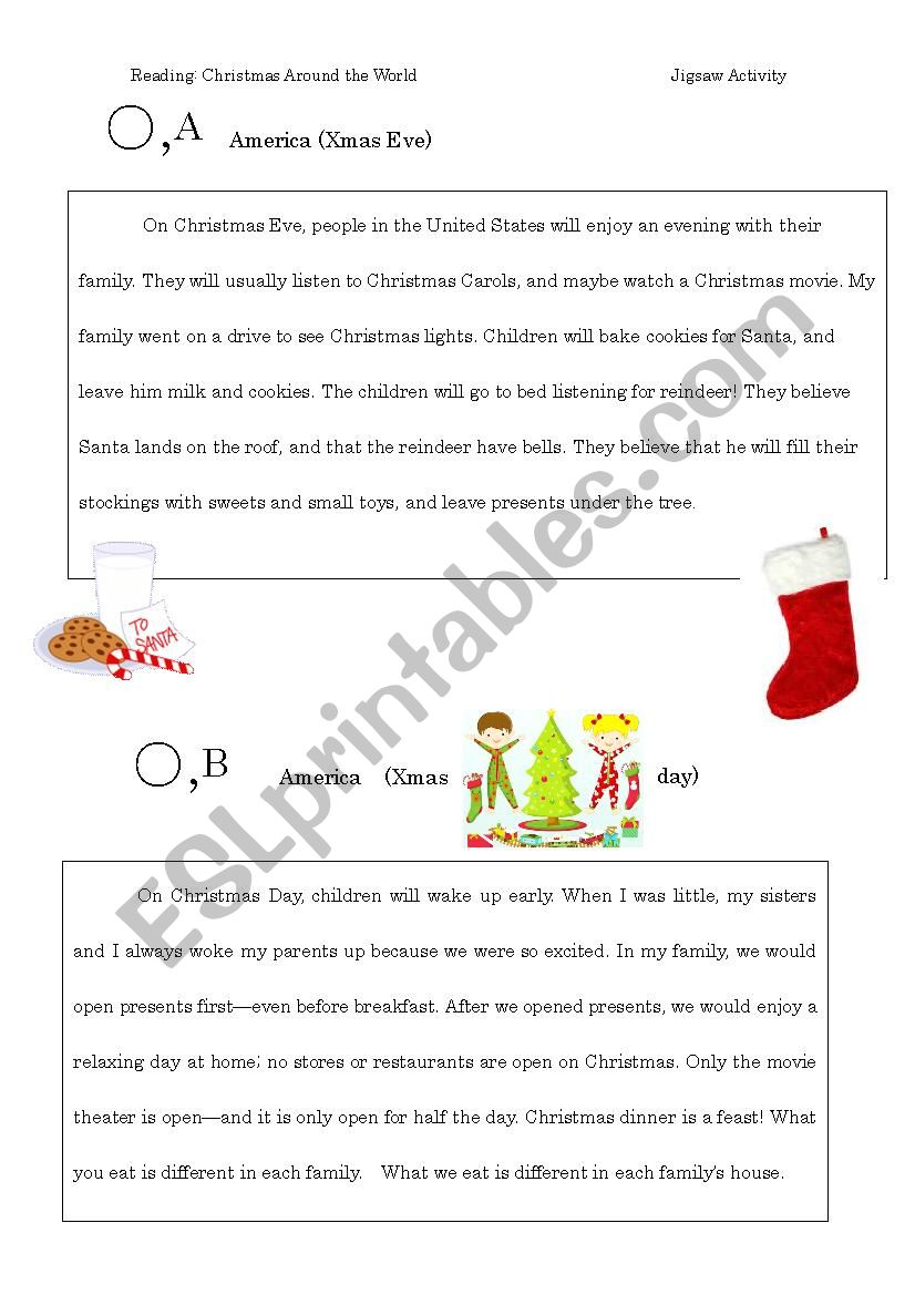 Christmas Around the World JIGSAW reading activity