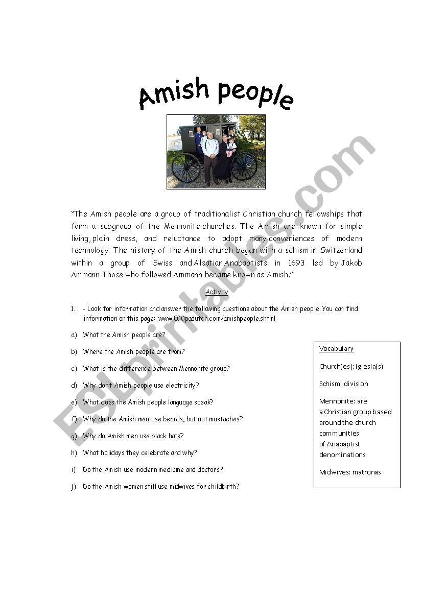 Amish people worksheet