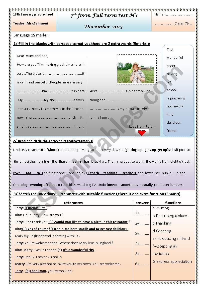7th form end of term test n°12013
