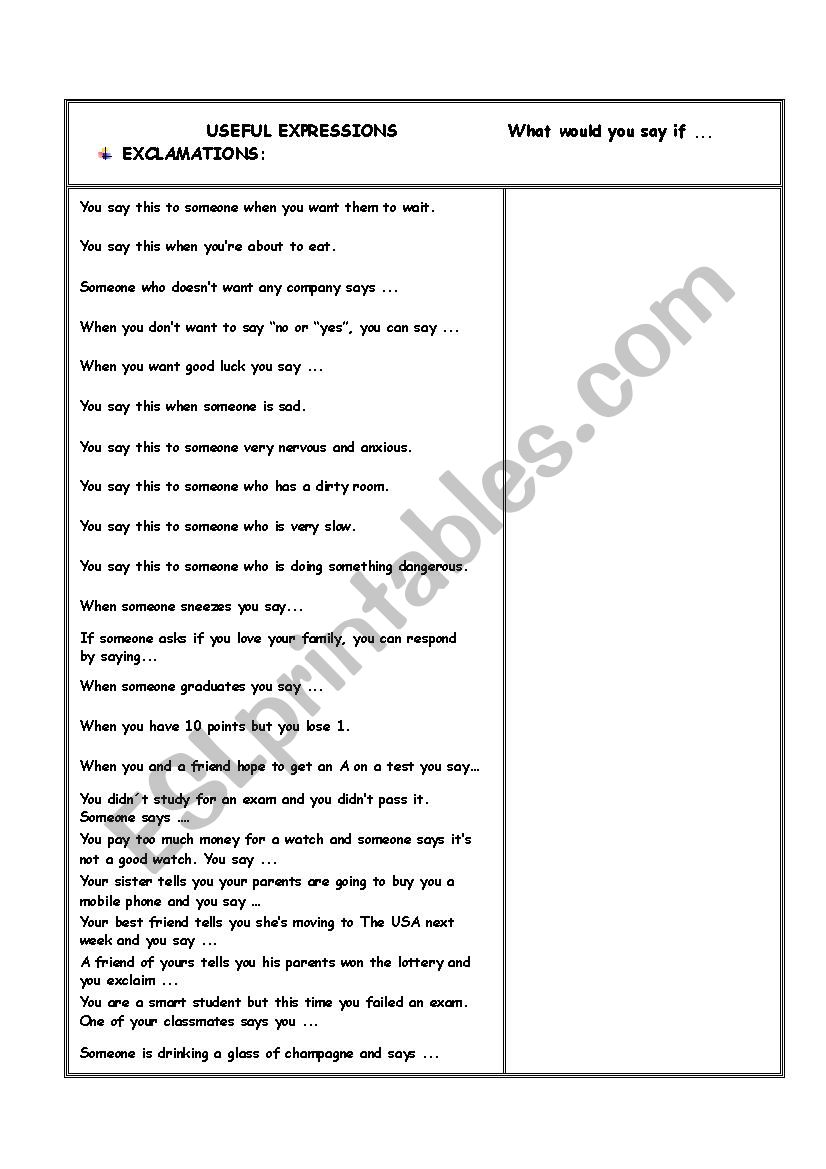 USEFUL EXPRESSIONS: Exclamations 1 MORE activities