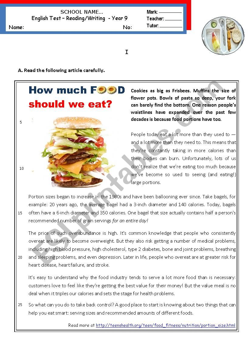 How much food should we eat?  -  Reading & Writing test - Intermediate B1
