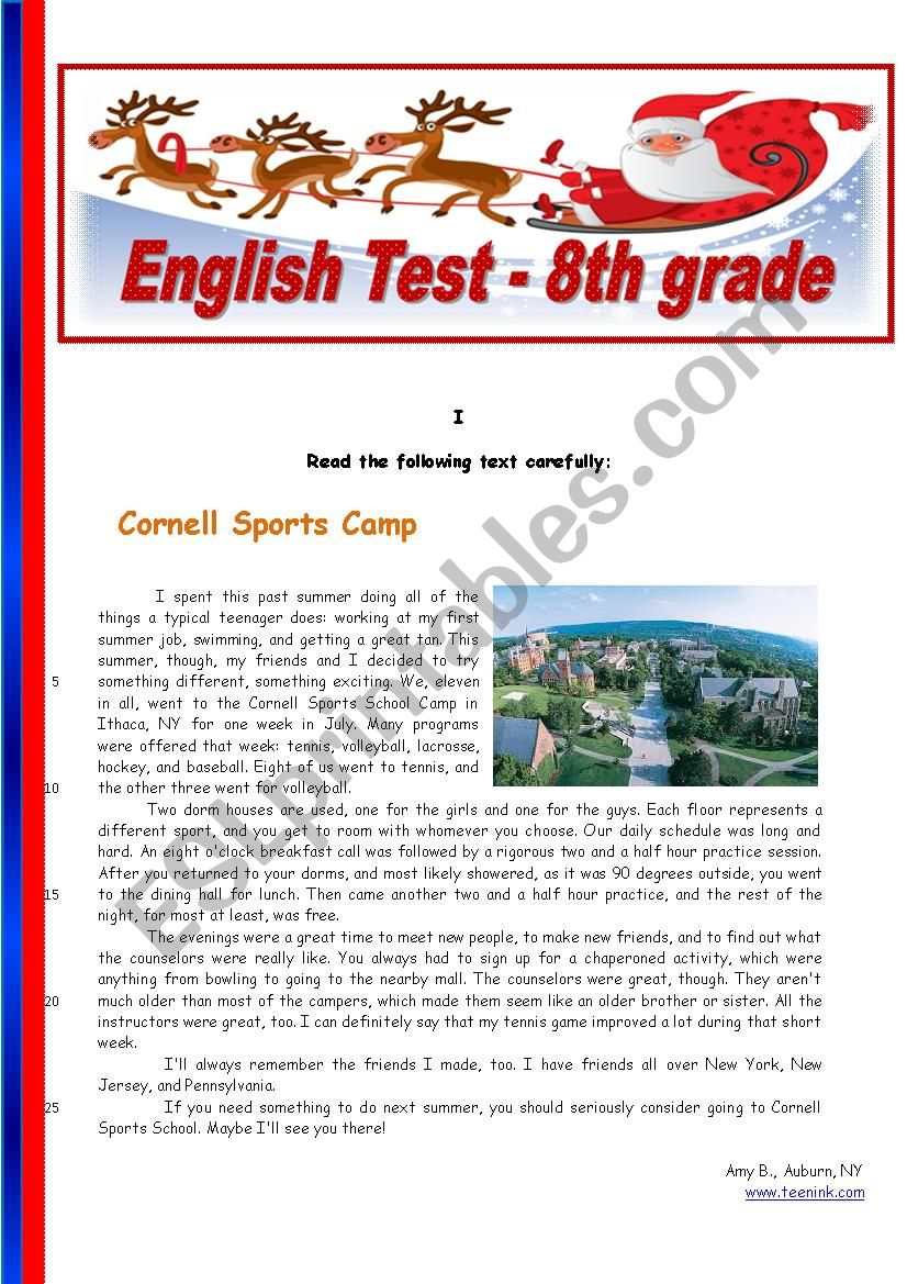 Sports - 8th grade worksheet