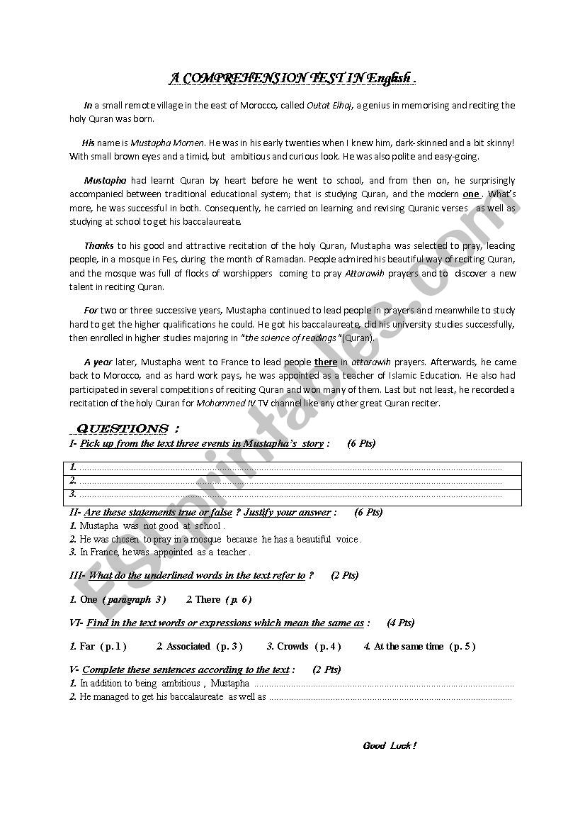 Comprehension Test on Youth worksheet