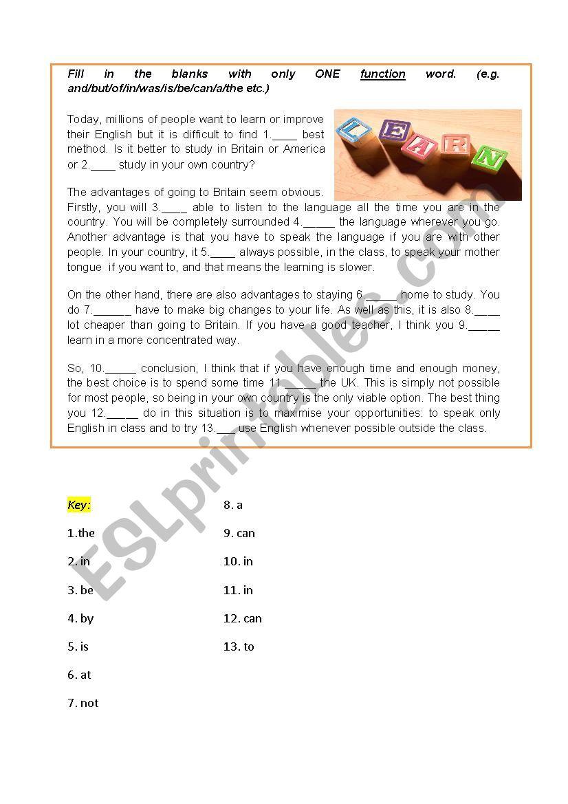 Open Cloze Test- Learning English