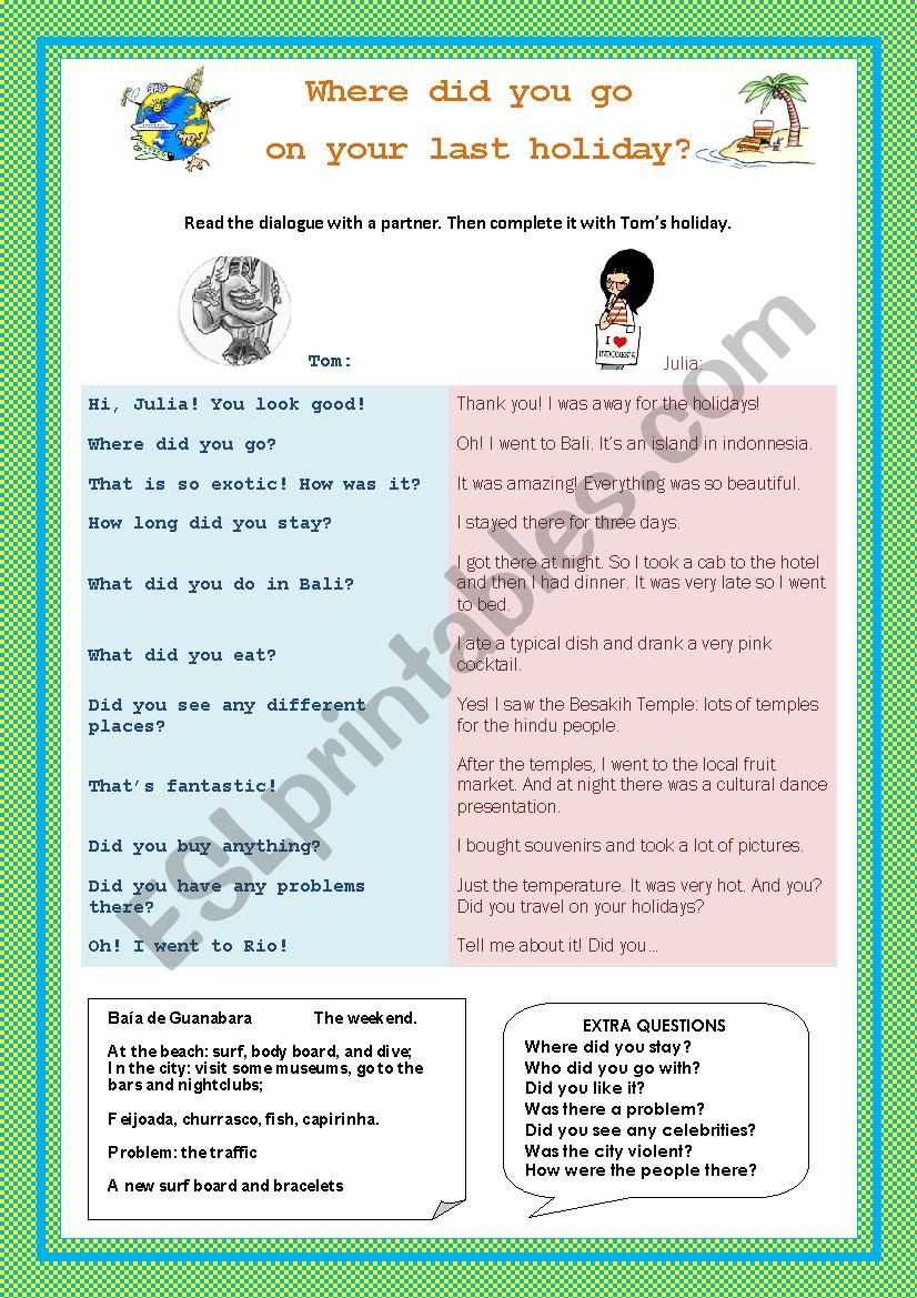 PAST summer holidays worksheet