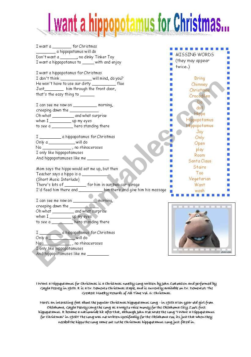 I want a hippopotamus for Christmas - ESL worksheet by atd46