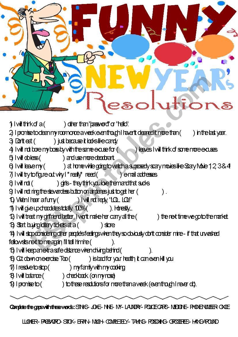 Funny New Year´s Resolutions- Vocabulary gap-filling ...