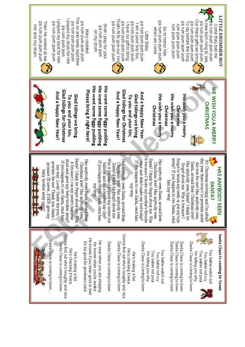 Christmas songs worksheet