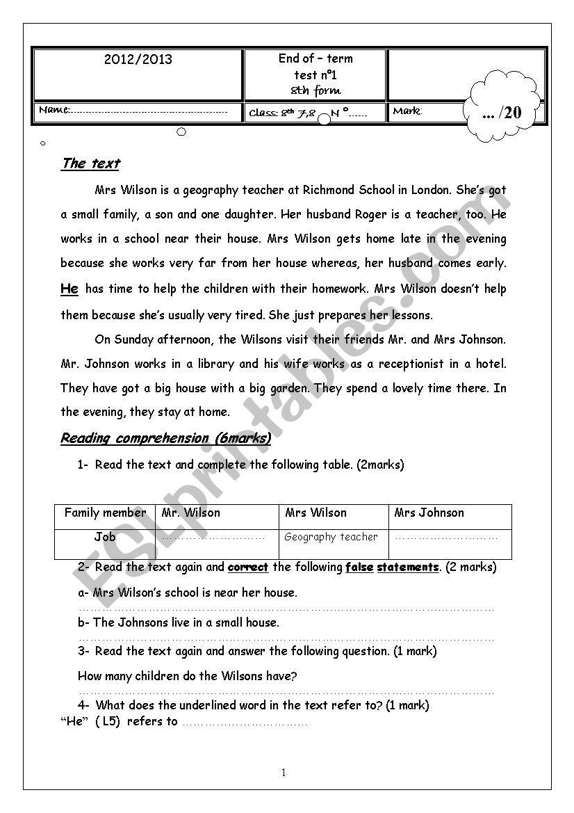 End of term test 8th form worksheet