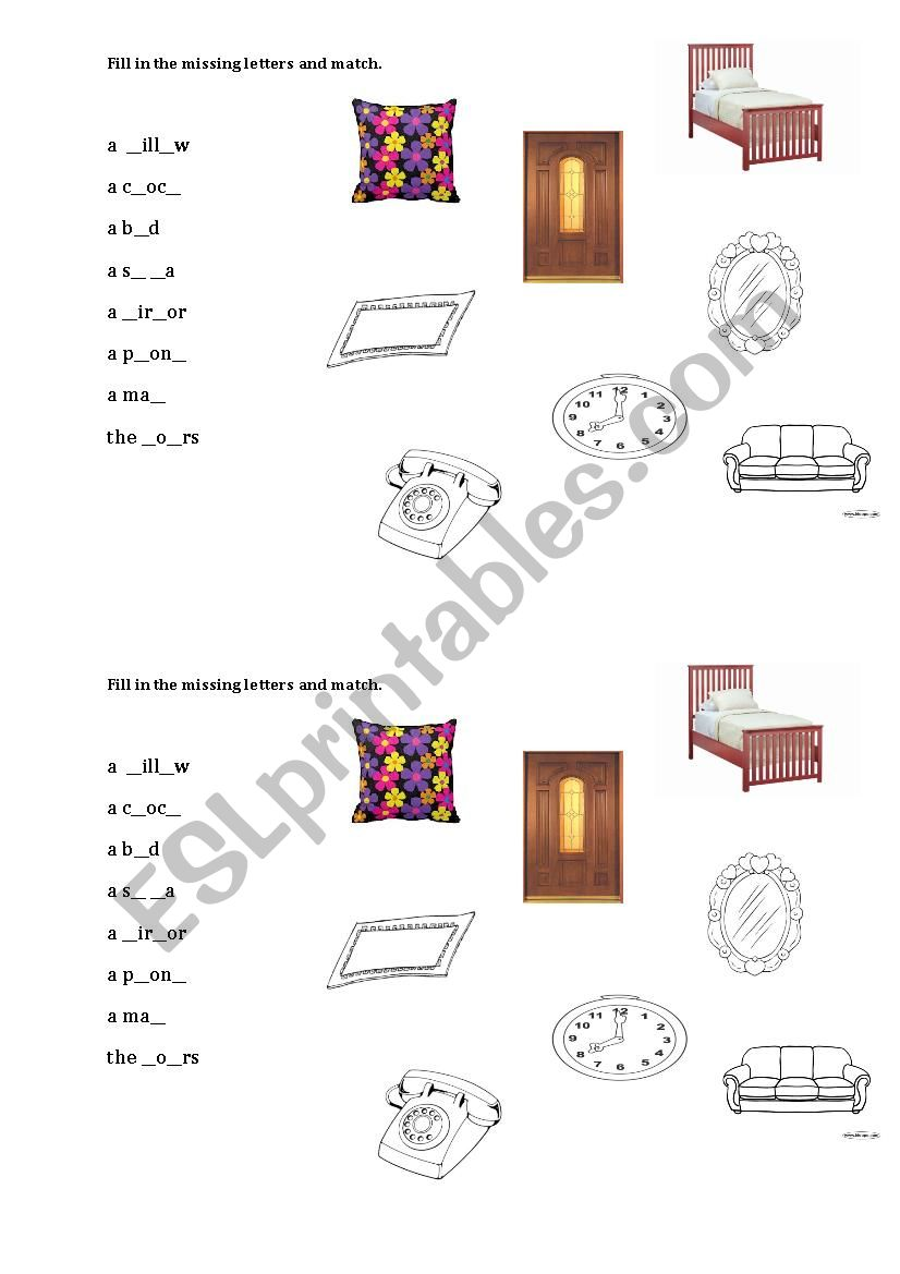 home vocabulary worksheet