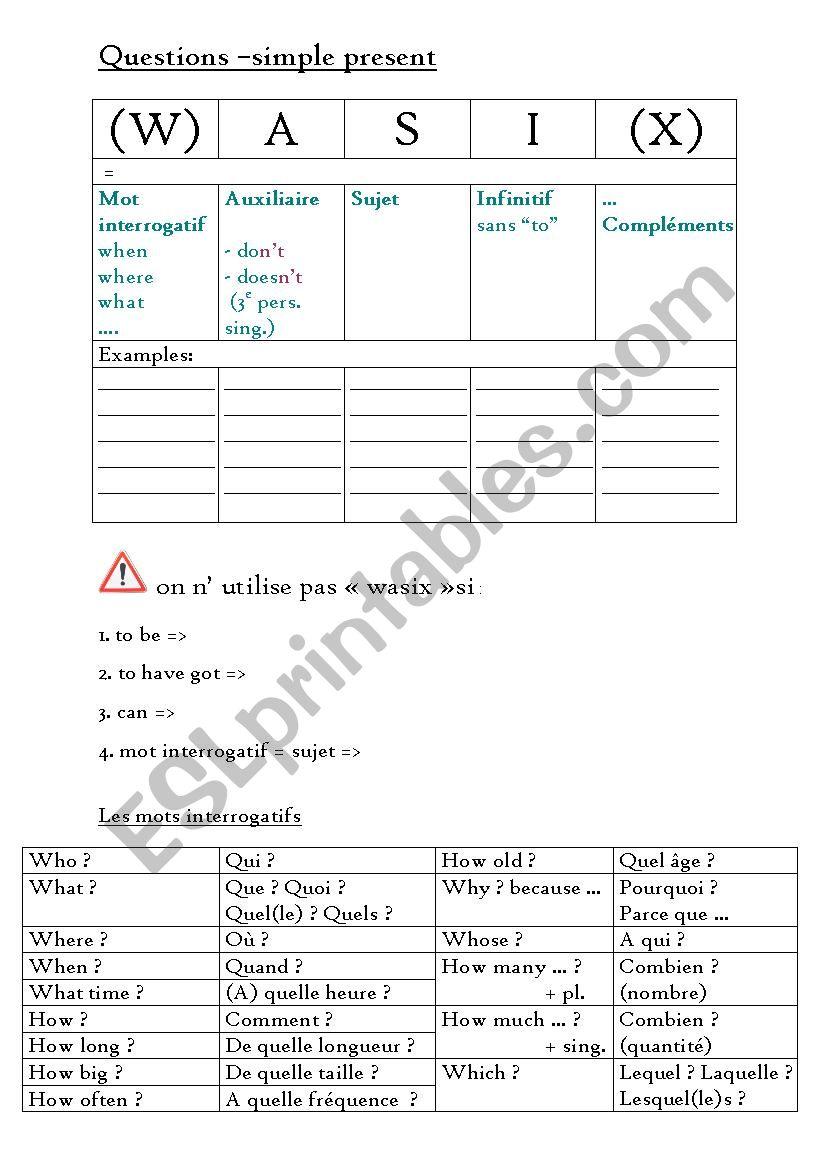 Questions - present simple worksheet