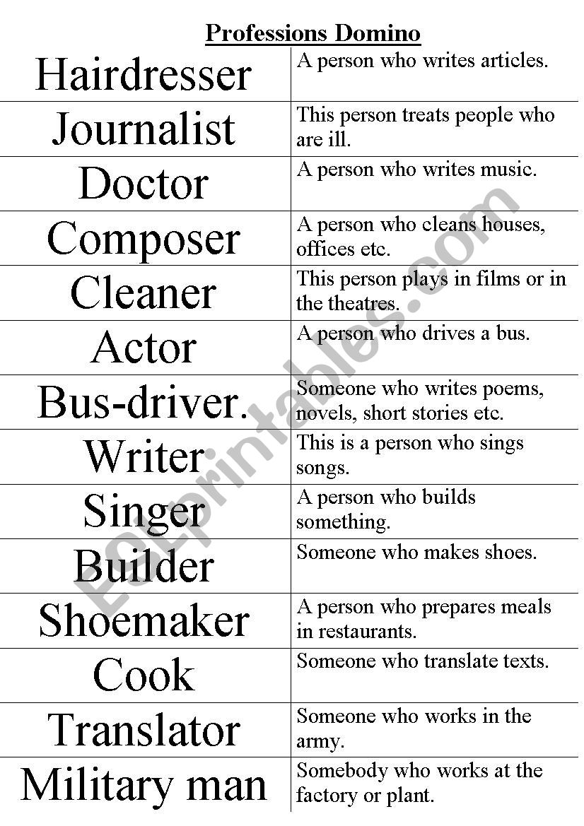 Professions Domino worksheet