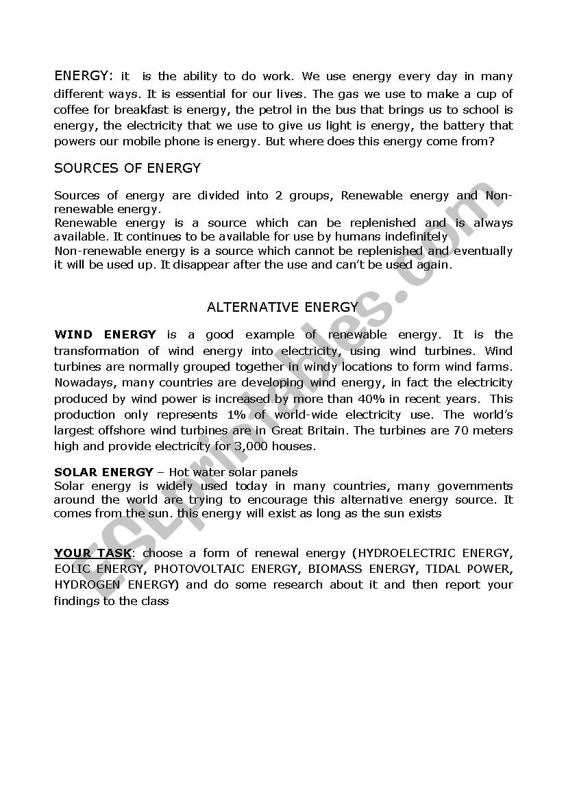 alternative energy worksheet