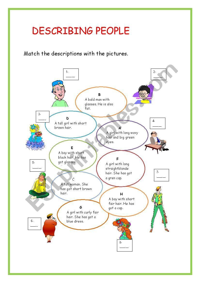 describing people worksheet