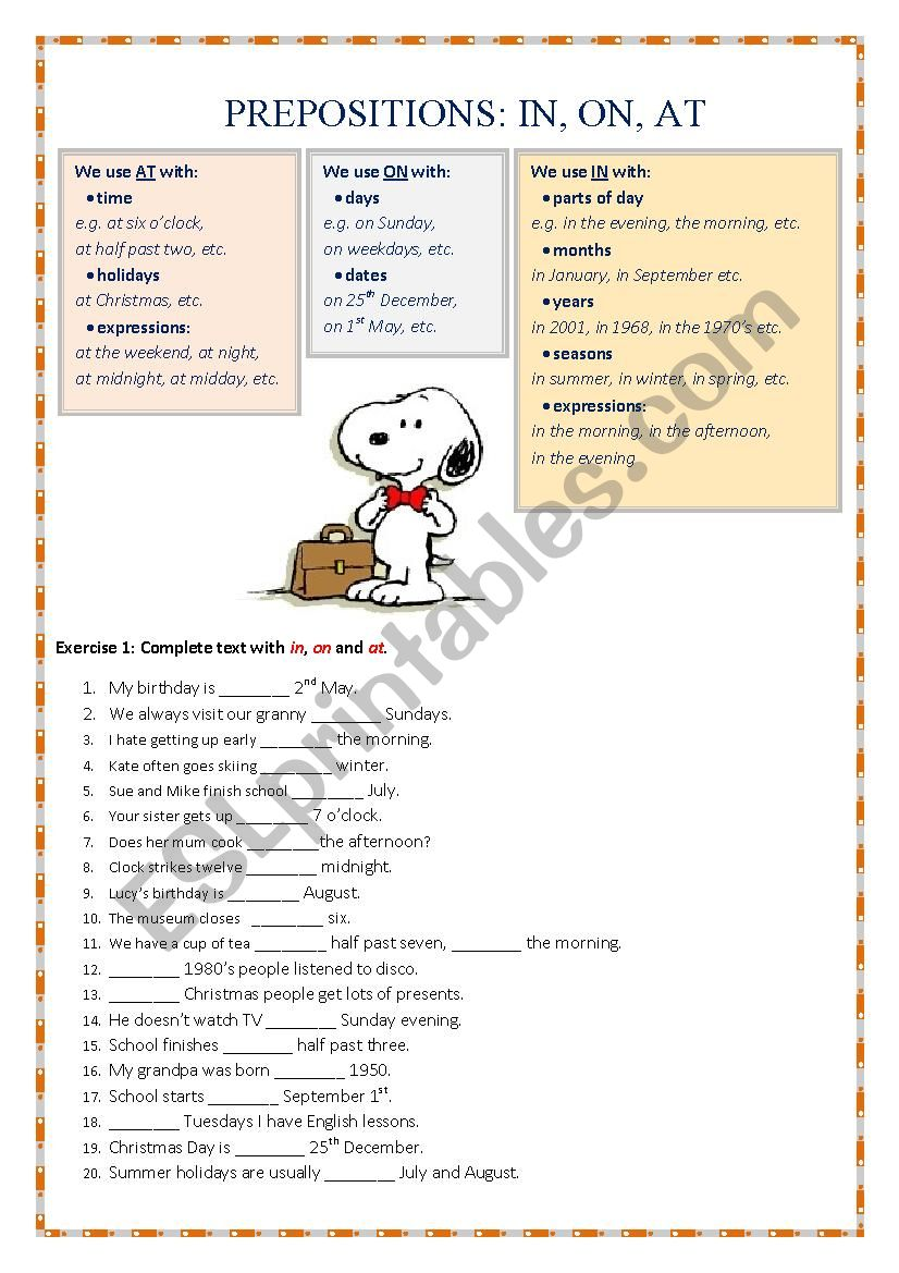 Prepositions IN, ON, AT worksheet