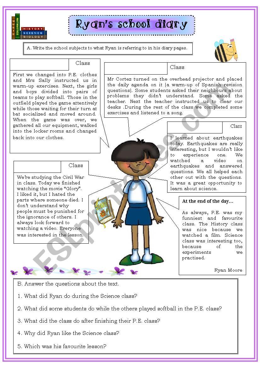 Ryan´s school diary worksheet