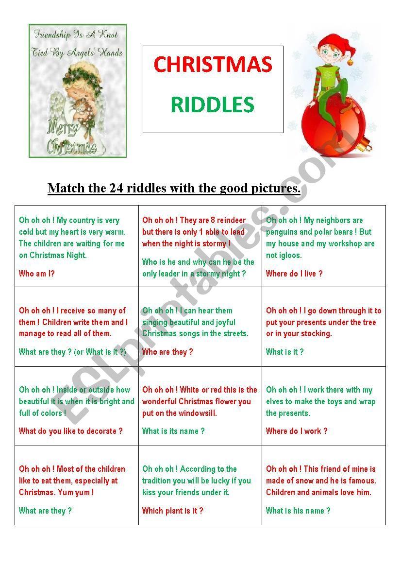 24 Christmas Riddles Or Memory Game Esl Worksheet By Maryse Peye