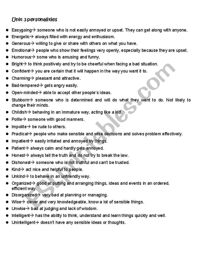 personality traits definition - esl worksheet by pinkbarbiee
