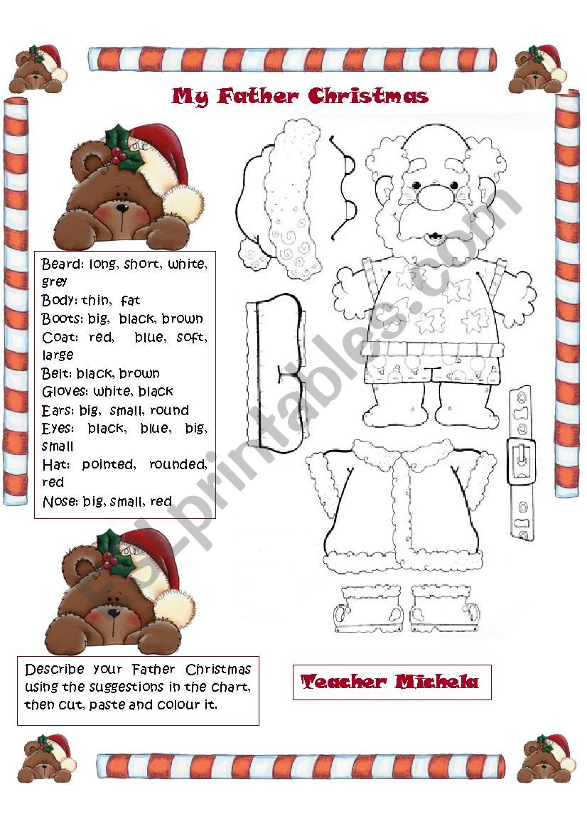 my Father Christmas: cut,paste,colour and describe him