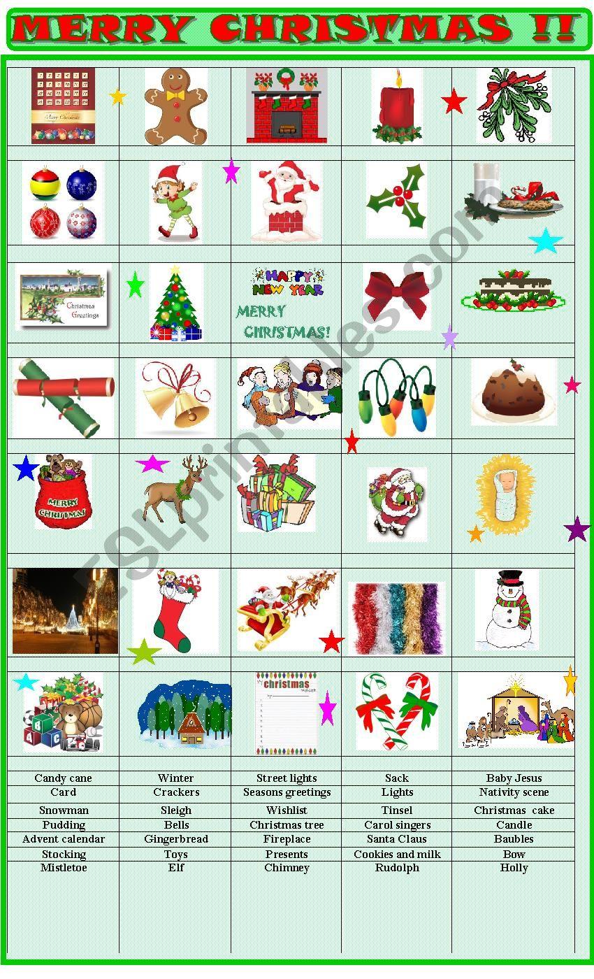 Christmas : matching exercise worksheet