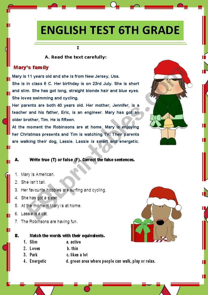 Test 6th grade worksheet