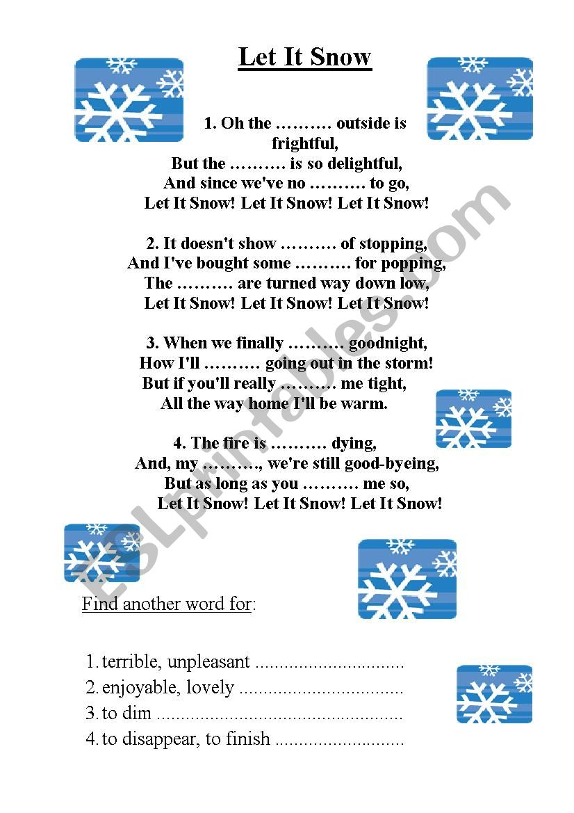 Let it snow, Christmas song worksheet