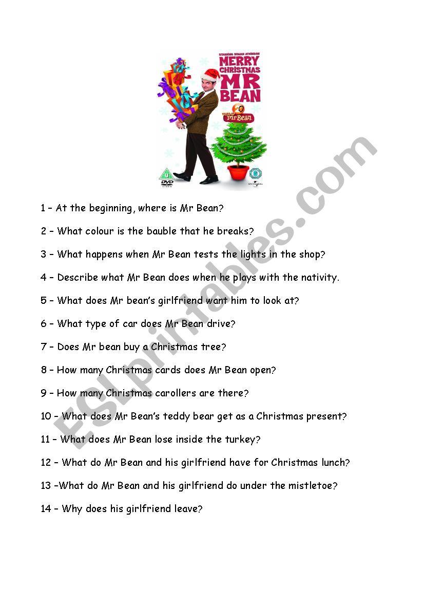 English Worksheets Merry Xmas Mr Bean Question Sheet