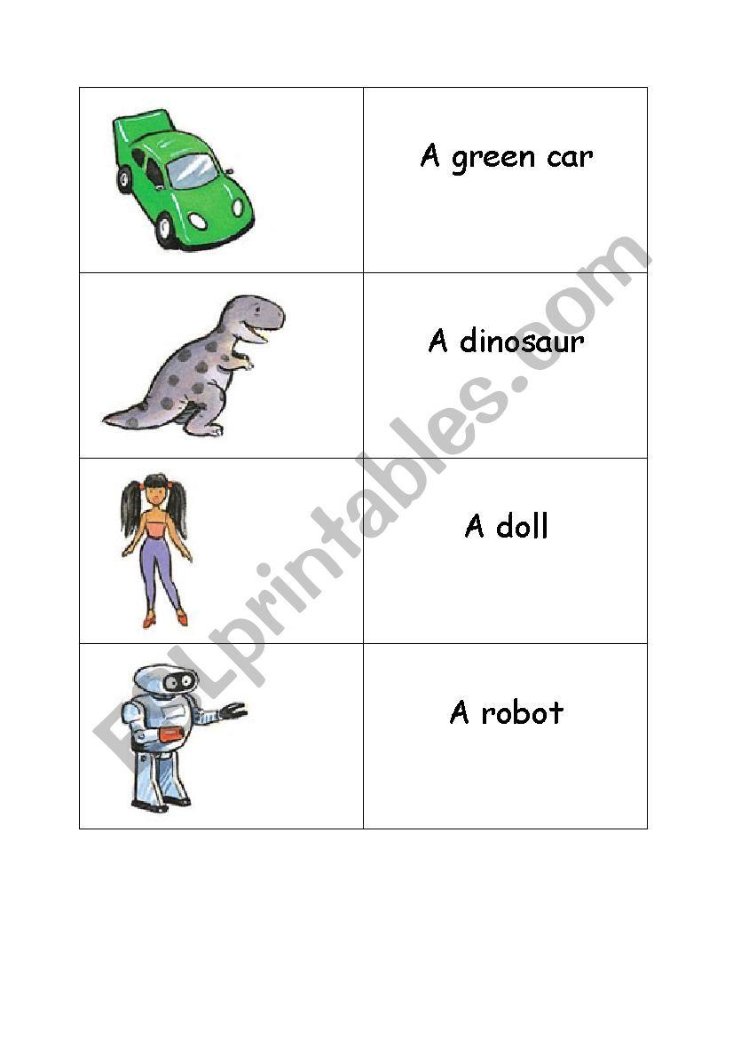 Memory Game toys worksheet