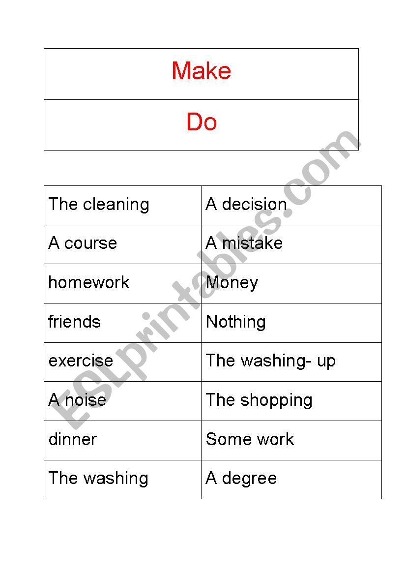 Make/ Do worksheet