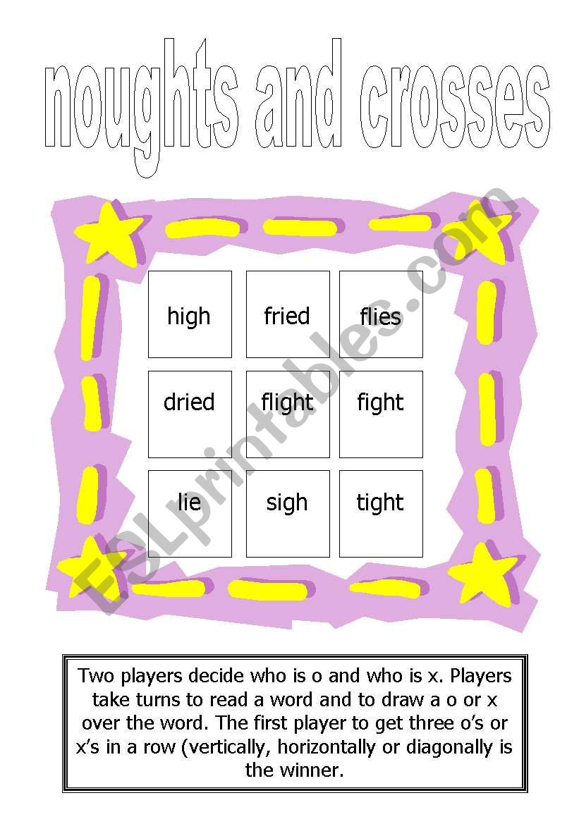 Tic-Tac-Toe for ´igh´ words worksheet