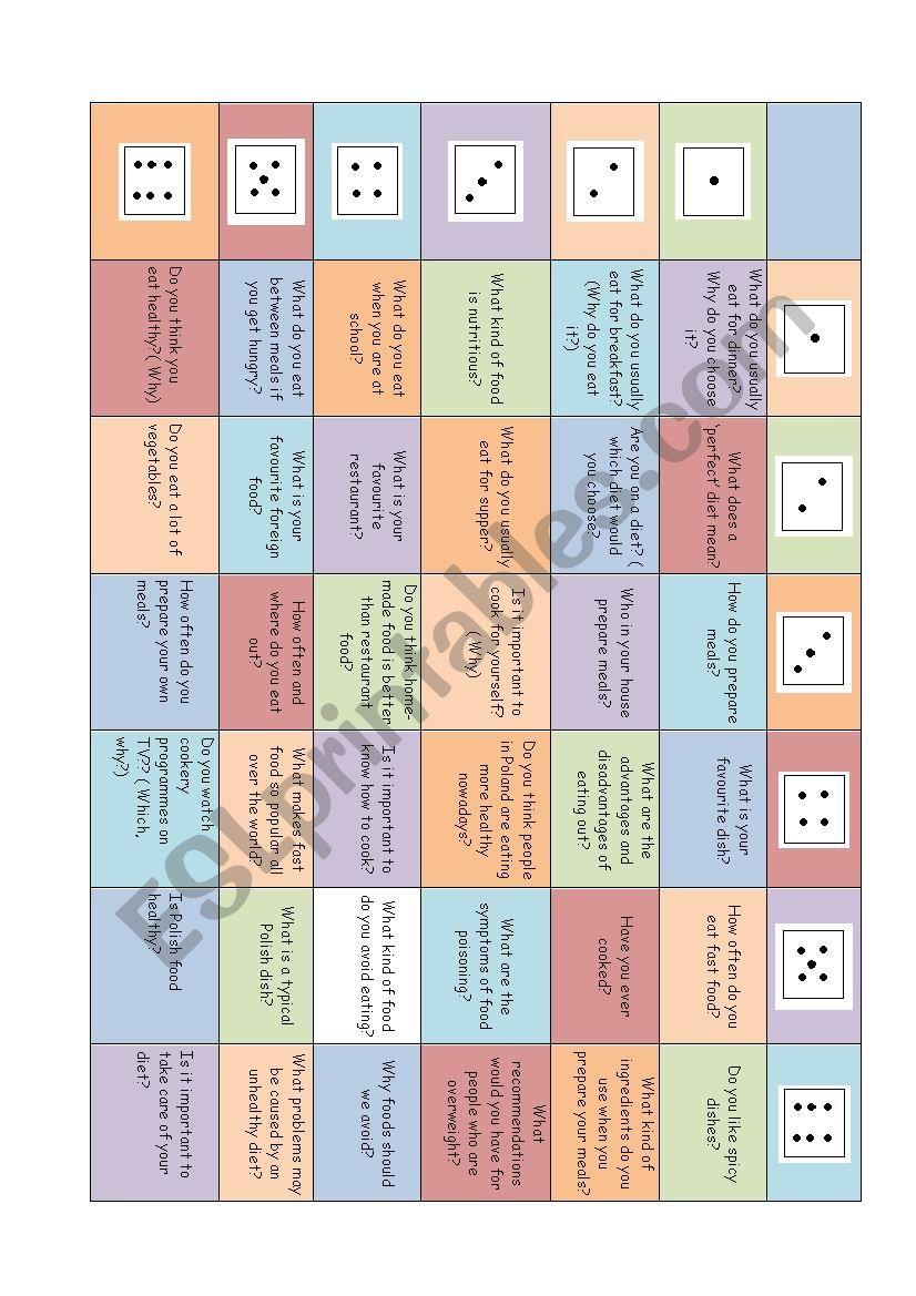Food game worksheet