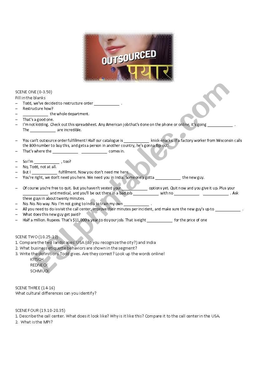 Outsourced Movie Activities - ESL worksheet by caritush
