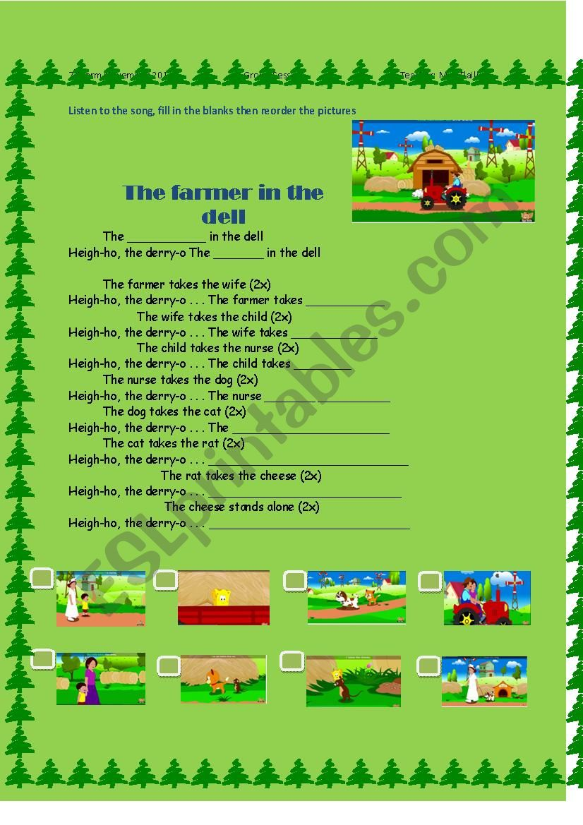 The Farmer in the Dell worksheet