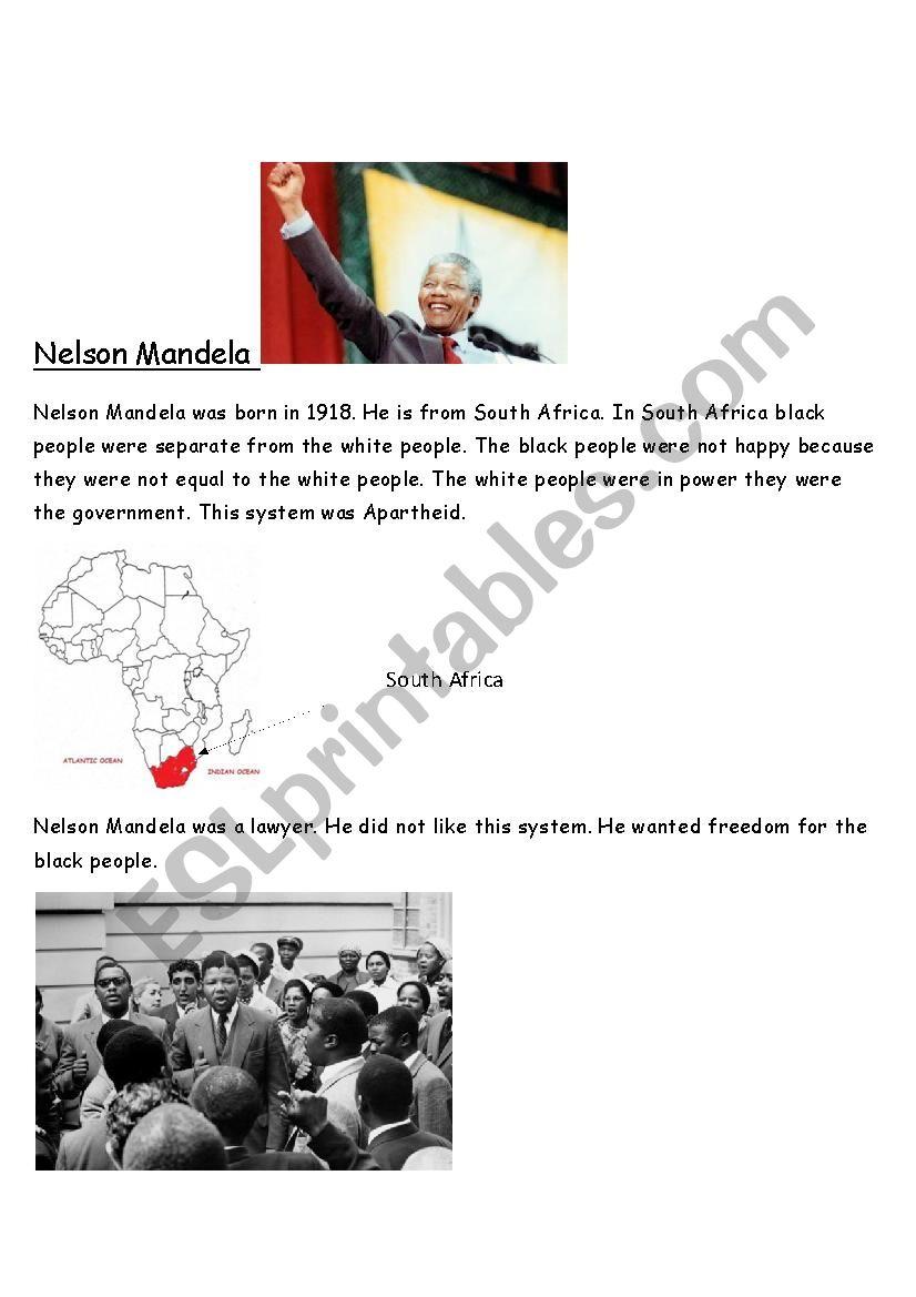 Nelson Mandela worksheet