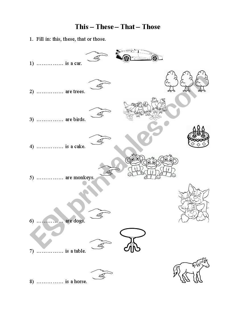 Demonstrative pronouns 1 worksheet