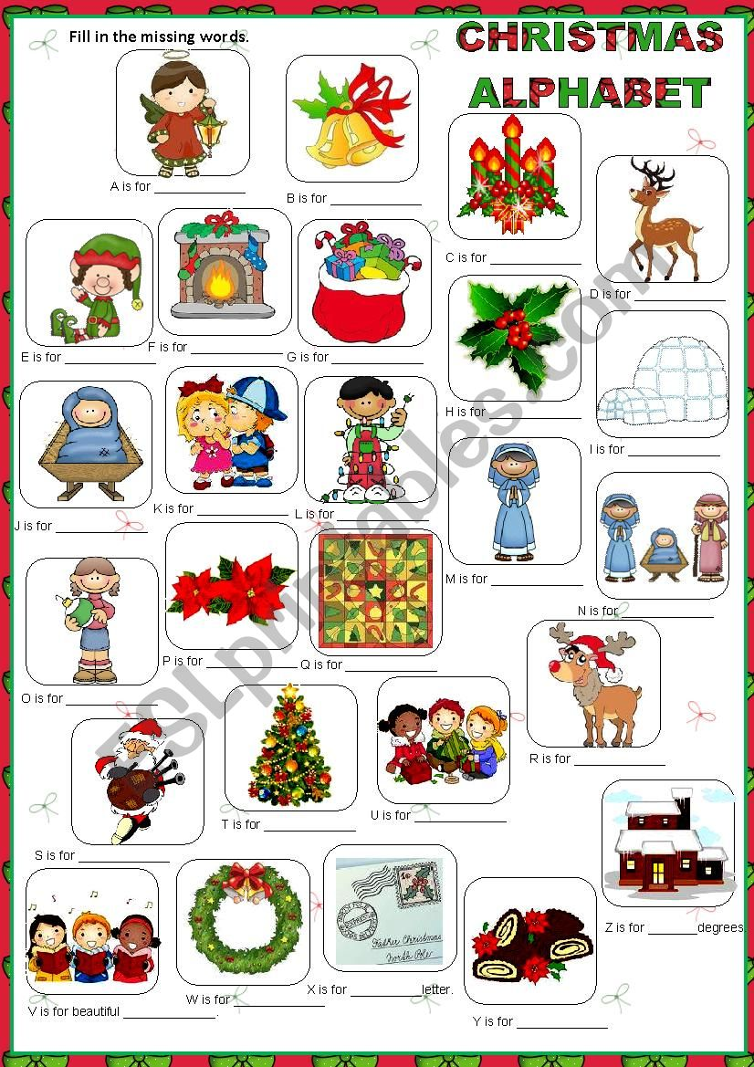 Christmas Alphabet.Christmas Alphabet Esl Worksheet By Macomabi