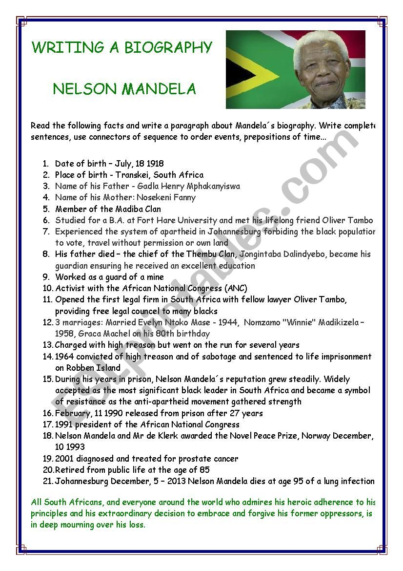 WRITING A BIOGRAPHY: NELSON MANDELA